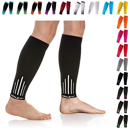 NEWZILL Compression Calf Sleeves (20-30mmHg) for Men & Women - Perfect Option to Our Compression Socks - For Running, Shin Splint, Medical, Travel, Nursing, Cycling (S/M, White)