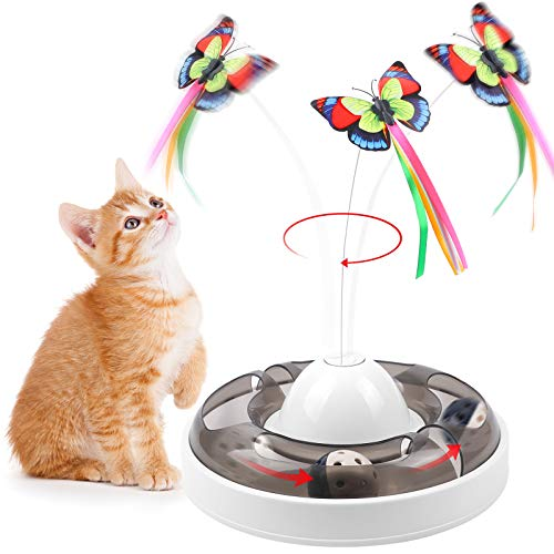 G.C 2 in 1 Interaktives Katzenspielzeug Elektrisch 360° drehbares Schmetterling Spielzeug mit Tracks Roller Bällen automatisch Catch me Katzenspielzeug Intelligenzspielzeug für Katzen Spiele
