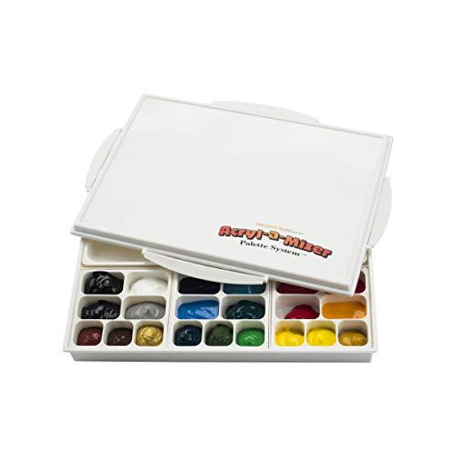Acryl-A-Miser Artist Airtight Acrylic Palette for Saving Paint - Leak Proof, Multi Purpose, 21 Compartments