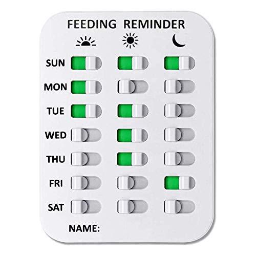 Tarjeta de recordatorio de alimentación para mascotas, AM/PM, con etiqueta engomada para perros y gatos, niños, ancianos, color blanco