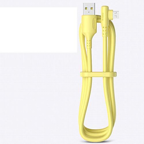 5A líquido 90 grados micro USB tipo C cable carga rápida USB cargador cable para Samsung xiaomi carga rápida alambre de silicona amarillo USB 2M