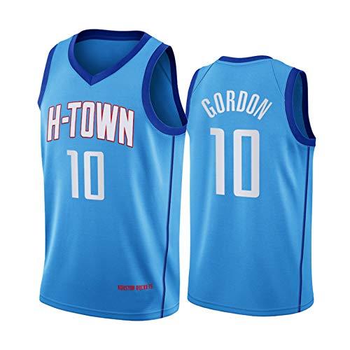 QJV Jugend Houston Rockets Eric Gordon 2020 City Edition Swingman Trikot, Blue Heat Applied Twill # 10 Trainingsspiel Jersey Mesh Breathable (S-XXL) XXL