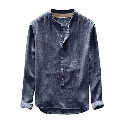N\P Camisa de hombre Otoño Botón Casual Lino y Algodón Manga Larga Top Blusa
