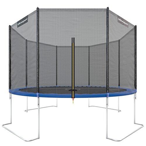Ultrasport Outdoor Gartentrampolin Jumper, Trampolin Komplettset inklusive Sprungmatte, Sicherheitsnetz, gepolsterten Netzpfosten und Randabdeckung, bis zu 150 kg, blau, Ø 366 cm