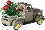 Bedspread Solar Retro Style Pickup Truck Gartendekoration, Outdoor Handbemalte Kleiner LKW Blumentopf Pflanzer mit Autolicht, Solarbetriebene Mini Oldtimer Statue für Garten Home Decor Desktop