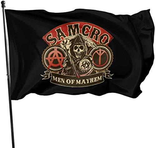YeeATZ 2056 pantalones Salomao Sons of Anarchy – Bandera de los hombres de Mayhem de 3 x 5 pies para decoración de jardín al aire libre Porche Bandera ligera – Resistente a la decoloración UV