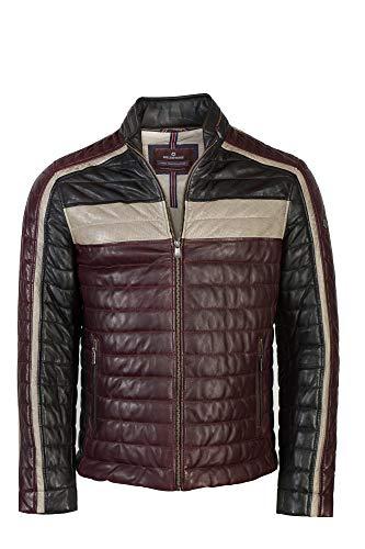 MILESTONE Herren Lederjacke mit modischen Streifen Bordeaux schwarz beige (54, Mehrfarbig (Herstellerfarbnr. 5999))