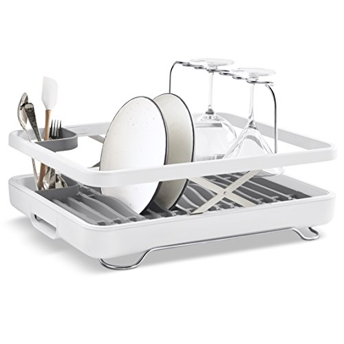 KOHLER (K-8631-0) Large Collapsible & Storable Dish Drying Rack with Wine Glass Holder and Collapsible Utensil Band. Even Made to Hold Pots and Pans, White