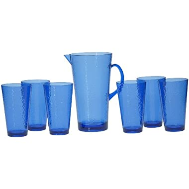 Certified International 7-Piece Hammered Glass Acrylic Hammered Drinkware Set, Cobalt Blue