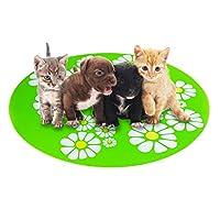 ペットアイスパッド 夏の犬の小さな花ペットシリコーン食品ペットマットアンチスプラッシュ滑り止めペットマット 多目的 猫や子犬に最適 (グリーン)