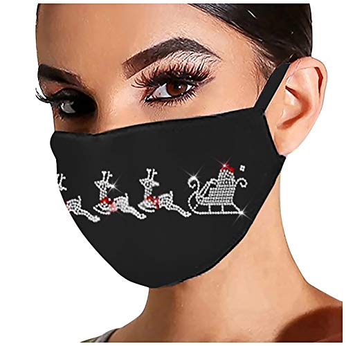 1PC Christmas Rhinestone Printed Womens Face Protection Snowman Xmas Gift Printed Soft Cotton Cute Washable(A)