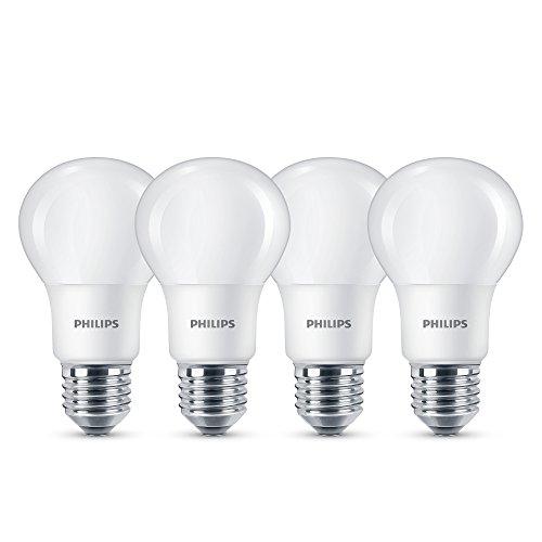 Philips Lampadine LED Luce Bianca Calda, E27, 8 W Equivalenti a 60 W, 2700K, Confezione da 4