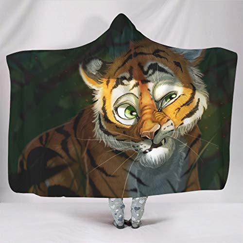 Rtisandu Coperta con cappuccio, simpatica e simpatica tigre, coperta per il divano, coperta di peluche, coperta per il divano e il divano, motivo stampato, per adulti e bambini, bianco, 130 x 150 cm