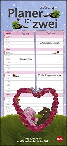 Rosalie & Trüffel Planer für zwei. Wandkalender 2020. Monatskalendarium. Spiralbindung. Format 16 x 34,7 cm