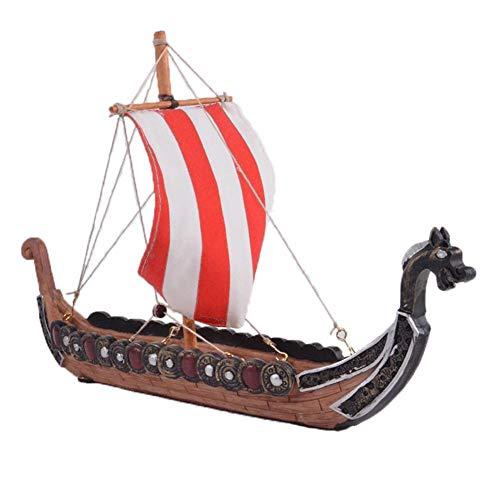 Barco pirata vikingo retro, barco modelo de barco pirata de madera, barco de dragón de decoración del hogar, 25,5 x 17,5 x 5,5 cm