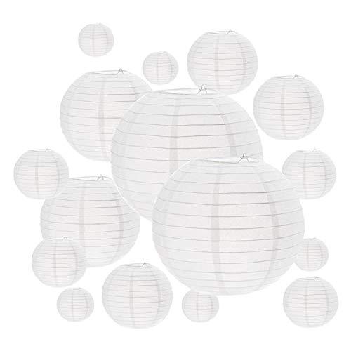16 Paquets lampions blancs, tailles assorties, décoratifs en papier, boule chinoise Décorations à suspendre papier lanternes Lampes pour la décoration de la maison, les fêtes, et les mariages