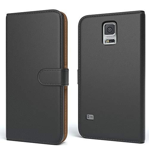 EAZY CASE Tasche für Samsung Galaxy S5/LTE+/Duos/Neo Schutzhülle mit Standfunktion Klapphülle im Bookstyle, Handytasche Handyhülle Flip Cover mit Magnetverschluss und Kartenfach, Kunstleder, Schwarz