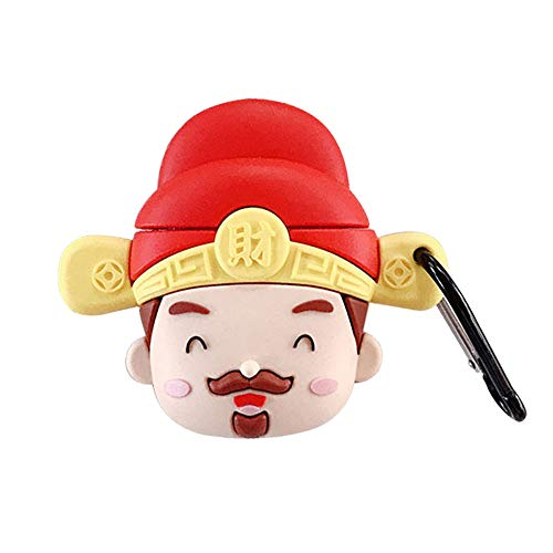 Great Price! BONTOUJOUR AirPods Case, New Super Cute Chinese Style Fortune Luck Blessing Man Character Earphone Case, Soft Silicone Pod Charging Case Cover Protective Skin for AirPods 1/2+Hook