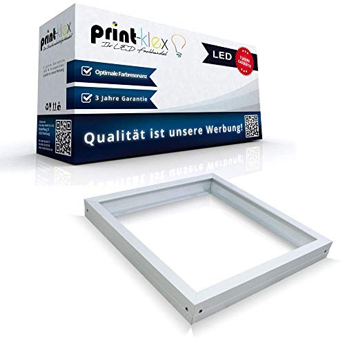 LED Panel Rahmen 60 x 60 cm Aufputzgehäuse Einbaurahmen Deckenbefestigung Weiß - Office Print Serie