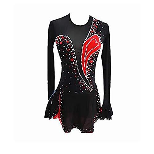 LWQ Eiskunstlauf-Kleid-Frauen-Mädchen Eislaufen Kleid Schwarz Spandex Stretchy Berufswettbewerb Skating tragen Sequin Langarm Eiskunstlauf,155