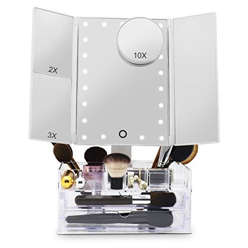 Espejo Maquillaje Iluminado Triple con Caja Organizadora de Almacenamiento de Acrílico, Espejo de Mesa con luces Vanity, Aumento 2X 3X 10X, 21 LED Toque Escritorio Cosmético con Espejo Iluminado