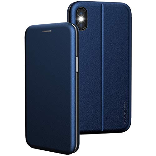 iPhone X Hülle Blau, iPhone XS Hülle [Deluxe Leder Flip-Case Klapphülle] Handyhülle iPhone X Fullbody 360 Grad Rundumschutz Ultra Slim kompatibel mit dem iPhone 10 Hülle X/XS