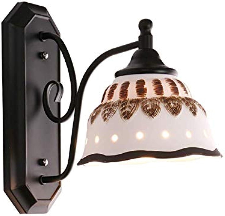 WSXXN Eisen Wandleuchte, American Country Einfache Keramik Wandleuchte Retro Rustikalen Stil Nachttischlampe Gang Lampe Mittelmeer Korridor Wandleuchte Beleuchtungskrper