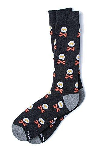 Men's Hipster Designer Bacon & Eggs Skull and Bones Novelty Crew Dress Socks (Dark Charcoal Gray)