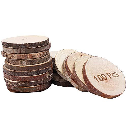 Circulos de Madera Natural (100 Piezas) - Rodajas de Madera Discos de Madera Rústicos (4 a 6cm) - Rebanadas con Corteza y...