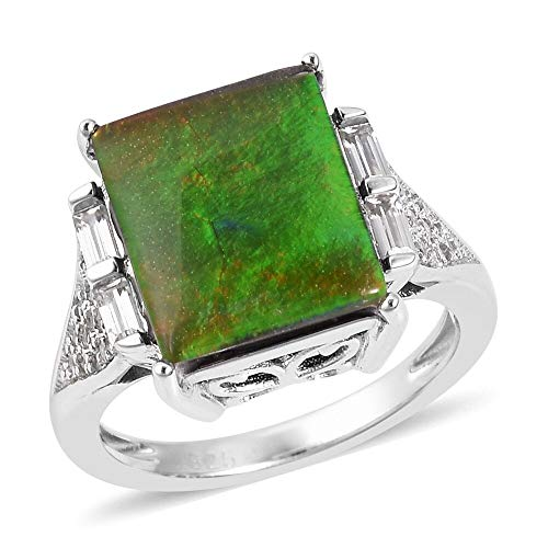 TJC Ammolite Solitaire 925 Sterling Silver Ring for Women White Zircon Size N, 3.07 Ct