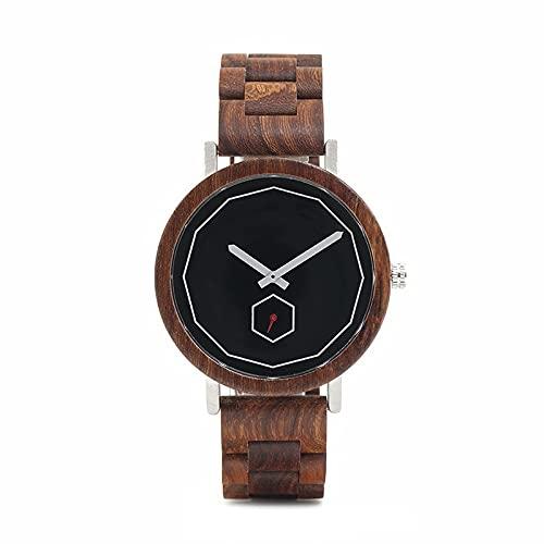 yuyan Reloj de Madera para Hombres, Moda Business Analog Quartz Movimiento Japonés Reloj de Madera, Correa Ajustable a Mano Natural, Hombres