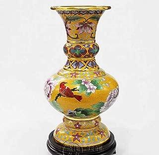 ZAMTAC Cloisonne vase 12 inch Flower Bottle Office Decoration Gifts - (Color: Yellow)