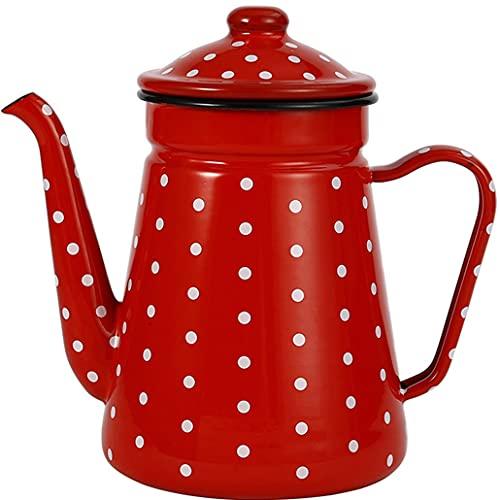 Bollitore per caffè Smaltato,Bollitore per L'acqua per Il tè delle Mani Teiera per La Casa Vintage,Fornello A Induzione,Fornello A Gas Universale
