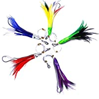 KUNSILANE Fishing Trolling Lures Saltwater Tuna Feathers Rig Teasers Squid Lures, Offshore Fishing Bullet Head 5PCS 6 Inch