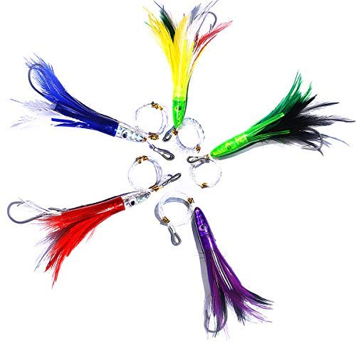 SELECT COLOR 7 inch Bullet Jet Head Rigged Fishing Trolling Lures 1 Pieces