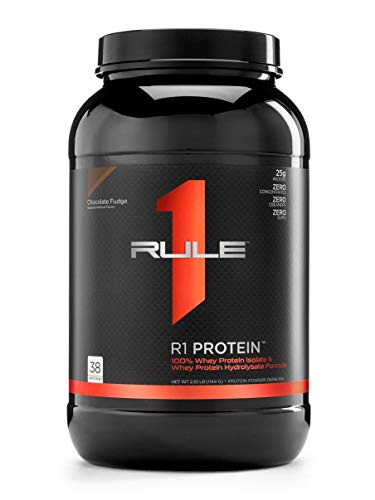 R1 Protein Whey Isolate/Hydrolysate, Rule 1 Proteins (38 Servings, Chocolate Fudge)