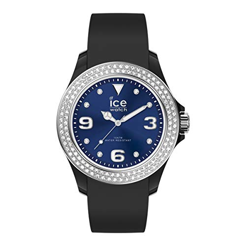 Ice-Watch ICE Star Black Deep Blue, Orologio Nero da Donna con Cinturino in Silicone, 017237, Medium (40 mm)