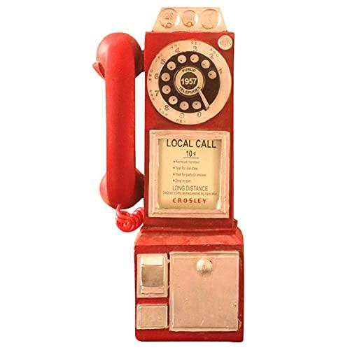 Benxin Vintage Girar Clásico Look Dial Pay Teléfono Modelo Retro Cabina Decoración del Hogar Ornamento