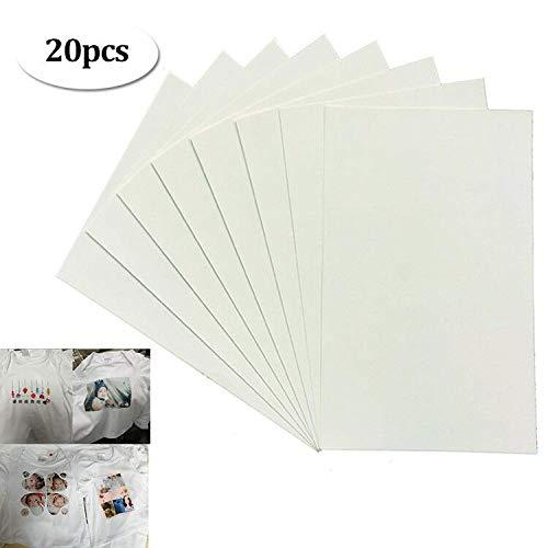 20 Hojas de papel de Transferencia de Color Oscuro para Impresoras Inyección Tinta para Textil el Hogar Rompecabezas Perlas Pintura Vidrio Taza de Cerámica Impresión Tela DIY Tamaño A4