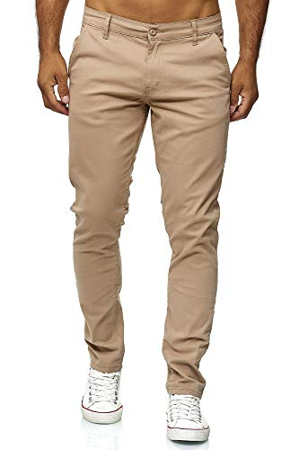 Elara Herren Chino Hose Regular Slim Fit Stretch Chunkyrayan MEL009-Beige-38/30