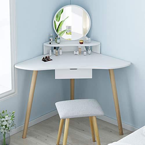 WZHZJ Tocador Simple Moderna Dormitorio Celebrity Viento Maquillaje Escritorio Espejo Integrado Tabla pequeño rincón tocador (Color : B)