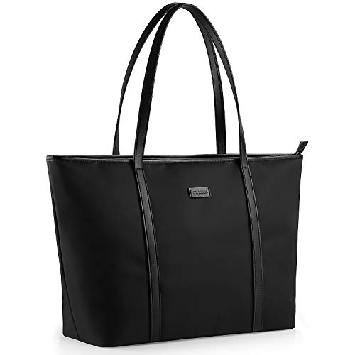 CHICECO Lightweight Travel Tote Bag for Women with Padded 15.6-inch Latop Sleeve - Black