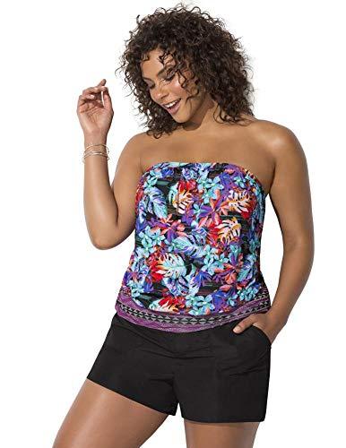 Swimsuits For All Women's Plus Size Bandeau Blouson Tankini Set with Cargo Short 16 Wild Multi, Black
