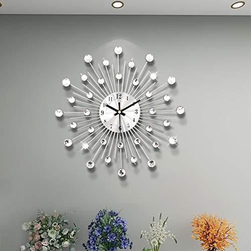 19.68 Inch Modern Wall Clock Diamond Luxury Wall Decorative Silent Wall Clock for Living Room,Bedroom,Office