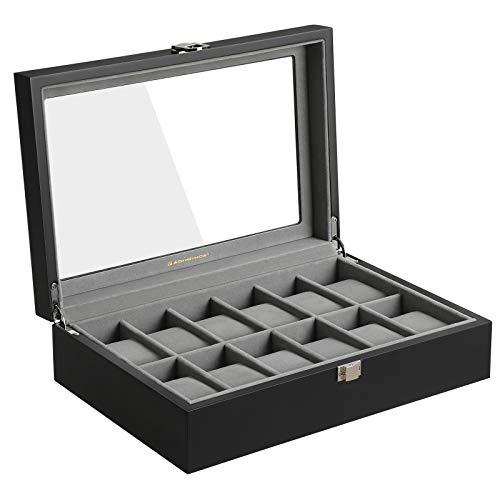 SONGMICS Uhrenbox mit 12 Fächern, aus Holz, Uhrenkasten mit Glasdeckel, Uhrenkoffer mit herausnehmbaren Uhrenkissen, Samt-Innenfutter, Metallverschluss, schwarz, JOW12BK
