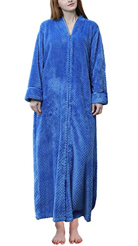 Soojun Women's Waffle Fleece Soft Zip Up Front Bathrobe