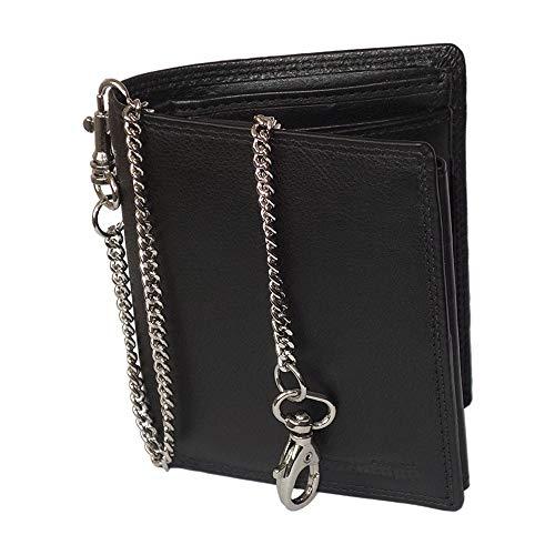 Schwarze Geldbörse mit Kette im hochwertigen Leder Hochformat Bikerbörse mit Kette Kettenbörse Biker Geldbeutel Portemonnaie Brieftasche Scheintasche Männer Herren schwarz