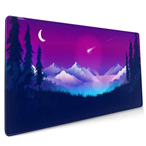 Langes Mousepad (35,5 x 15,8 Zoll) Shooting Star Nachthimmel Bright Comet Desk Pad Tastaturmatte, rutschfeste Basis, wasserdicht, für die Arbeit