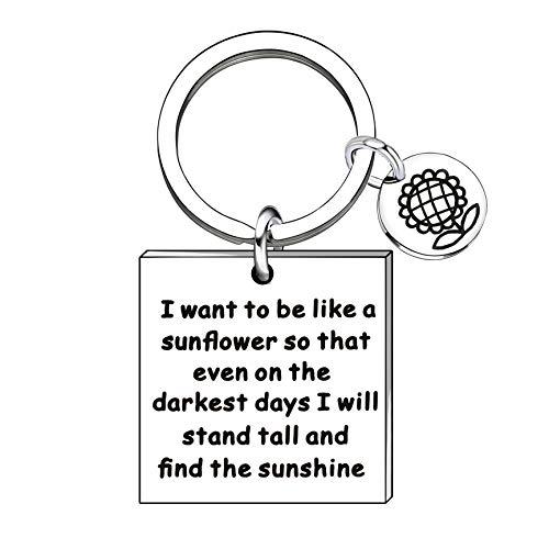 Inspirerende geschenken sleutelhanger vrouwen mannen - te zijn als een zonnebloem op de donkerste dagen staan lang en vinden de zon