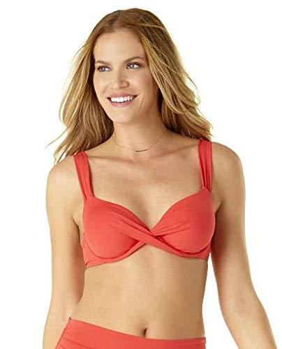 Anne Cole Women's Over The Shoulder Underwire Twist Sexy Bikini Swim Top, Coral, 34B/36C